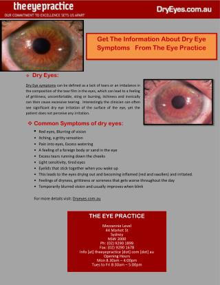 Get The Information About Dry Eye Symptoms From The Eye Practice