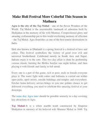 Make Holi Festival More Colorful This Season in Mathura
