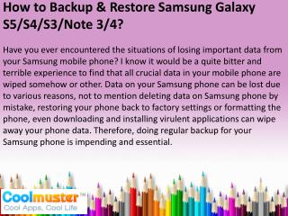 How to Backup & Restore Samsung Galaxy S6/S5/S4/Note 3/4
