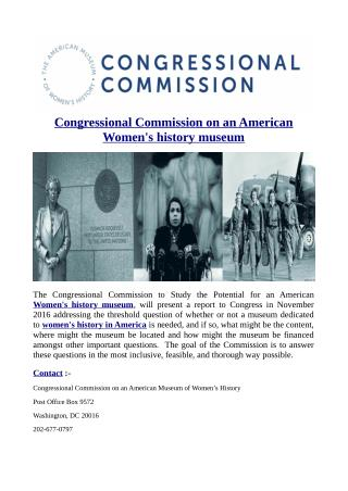 Congressional Commission on an American Women's history museum