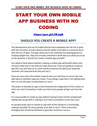 Start Your Own Mobile App Business With No Coding