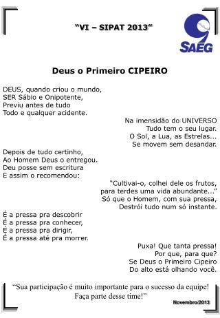 DEUS O PRIMEIRO CIPEIRO
