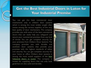 Get the Best Industrial Doors in Luton for Your Industrial Premise