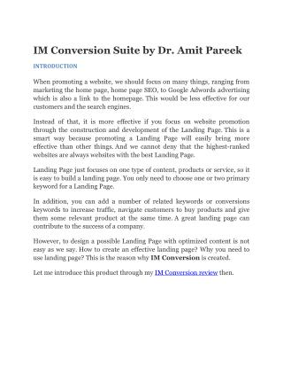 IM Conversion Review IM Conversion Suite by Dr. Amit Pareek