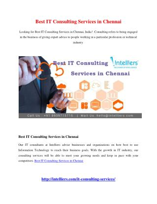 Best IT Consulting Services in Chennai