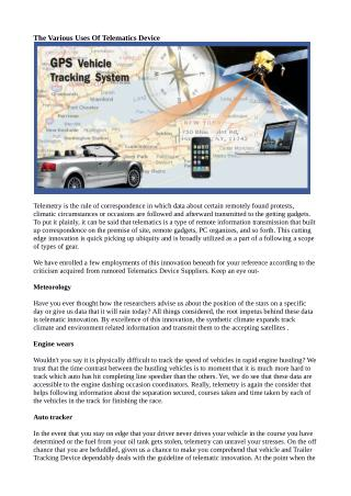 The Various Uses Of Telematics Device