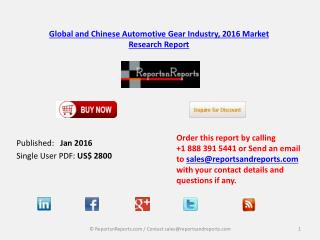 Automotive Gear Industry Macroeconomic Environment Development, Trend and Analysis by 2021
