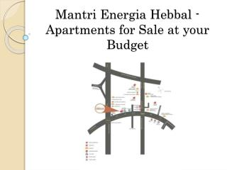 Mantri Energia Hebbal - Apartments for Sale at your Budget