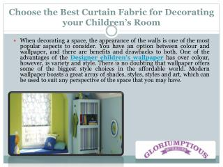 Choose the Best Curtain Fabric for Decorating your Children's Room