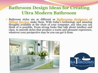 Bathroom Design Ideas for Creating Ultra Modern Bathroom