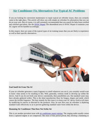 Air Conditioner Fix Alternatives For Typical AC Problems