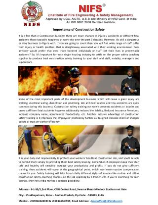 Importance of Construction Safety