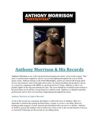 Anthony Morrison & His Records