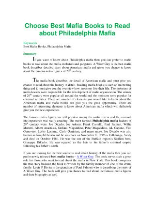 Choose Best Mafia Books to Read about Philadelphia Mafia