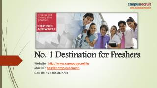No. 1 Destination for freshers, campanies and campuses