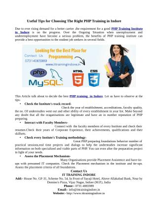 Advance and core php training Institute- IT Training Indore