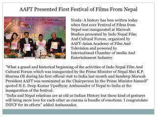 AAFT Presented First Festival of Films From Nepal