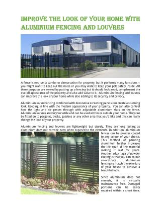 Improve the Look of Your Home with Aluminium Fencing and Louvres