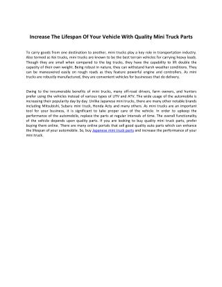 Increase The Lifespan Of Your Vehicle With Quality Mini Truck Parts