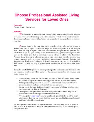 Choose Professional Assisted Living Services for Loved Ones