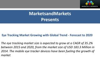 Eye Tracking Market by Type and Application - 2020 | MarketsandMarkets