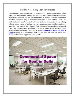 Commercial Spaces for Rent in Delhi