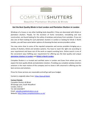 Get the Best Quality Blinds in East London and Plantation Shutters in London