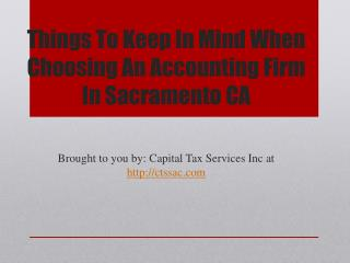 Things To Keep In Mind When Choosing An Accounting Firm In Sacramento CA