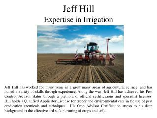 Jeff Hill - Expertise in Irrigation