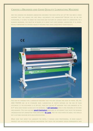 Choose a Branded and Good Quality Laminating Machine