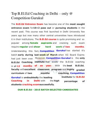 Top B.El.Ed Coaching in Delhi � only @ Competition Gurukul