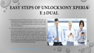 Easy Steps of Unlock Sony Xperia E 3 Dual