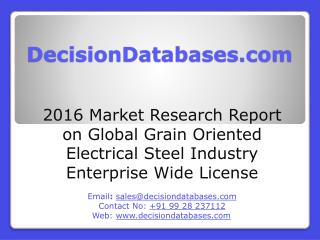 Global Grain Oriented Electrical Steel Industry Enterprise Wide License Market 2016