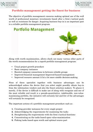 Portfolio management getting the finest for business