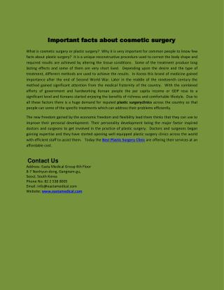 Important facts about cosmetic surgery