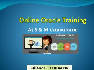 Oracle Online Training at S & M Consultant