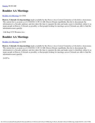 Boulder Colorado AA Meetings