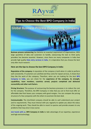 Choosing the Best BPO Company in India