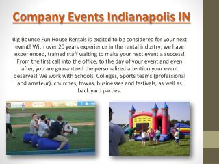 Corporate Event Rentals Indianapolis IN