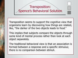 Transposition: Spence s Behavioral Solution