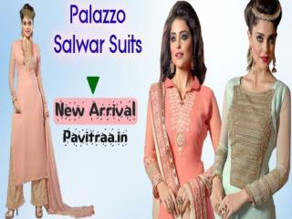 Long Straight Cut Salwar Kameez With Palazzo Pants