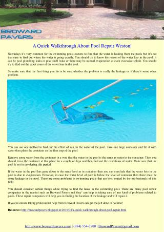 A Quick Walkthrough About Pool Repair Weston