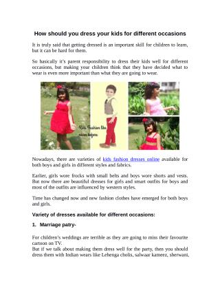 How should you dress your kids for different occasions