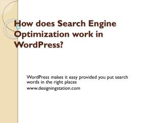 How does Search Engine Optimization work in WordPress