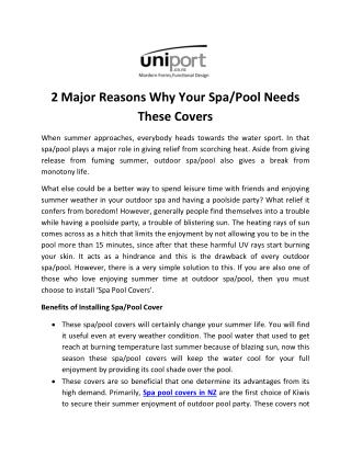 2 Major Reasons Why Your Spa/Pool Needs These Covers