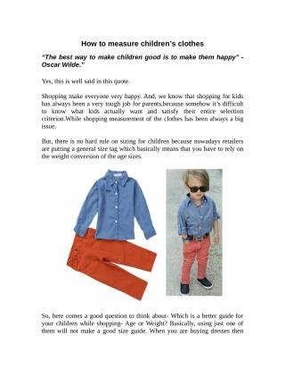 How to measure children�s clothes