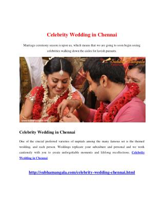 Celebrity Wedding in Chennai