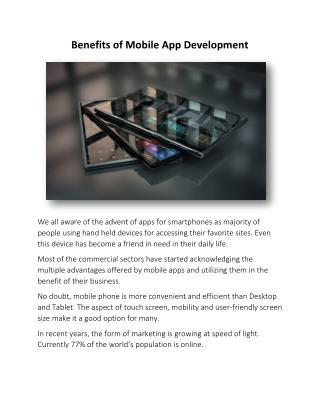 Benefits of Mobile App Development