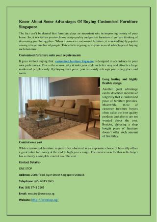 Know About Some Advantages Of Buying Customised Furniture Singapore