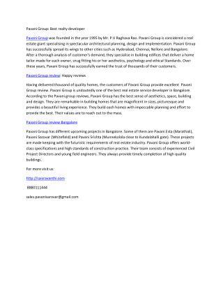 Pavani Group, Pavani group review bangalore